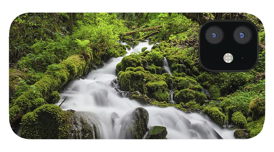 Scenics IPhone 12 Case featuring the photograph Wild Forest Waterfall Idyllic Green by Fotovoyager