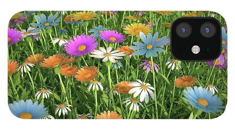 Grass iPhone 12 Case featuring the digital art Wildflower Meadow, Artwork by Leonello Calvetti