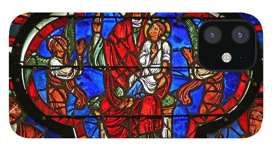 Saint IPhone 12 Case featuring the photograph Window Depicting The Virgin Holding Christ On Her Knee And A Rose by French School