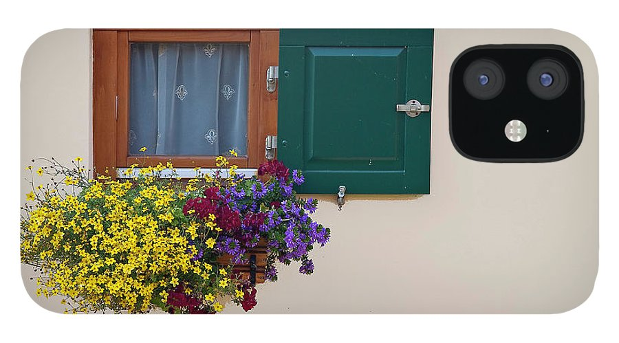Outdoors IPhone 12 Case featuring the photograph Window With Flowers by Enzo D.