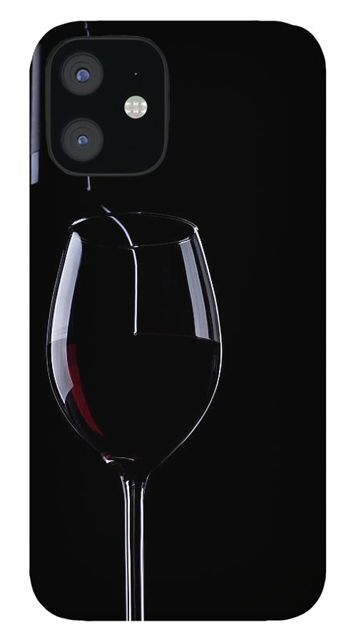Curve IPhone 12 Case featuring the photograph Wine Bottle And Glass by Portishead1