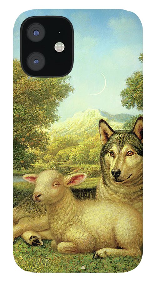 Wolf Laying With A Lamb iPhone 12 Case featuring the painting Wolf Lies Down With The Lamb by Dan Craig