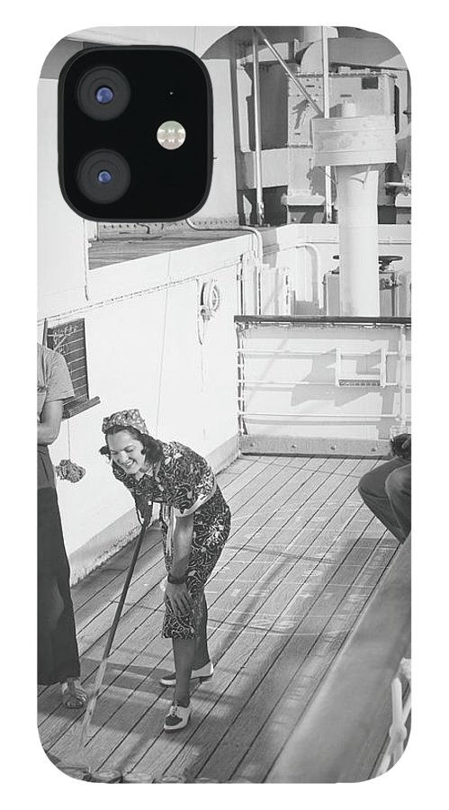 Young Men IPhone 12 Case featuring the photograph Woman And Two Men On Cruiser Deck, B&w by George Marks