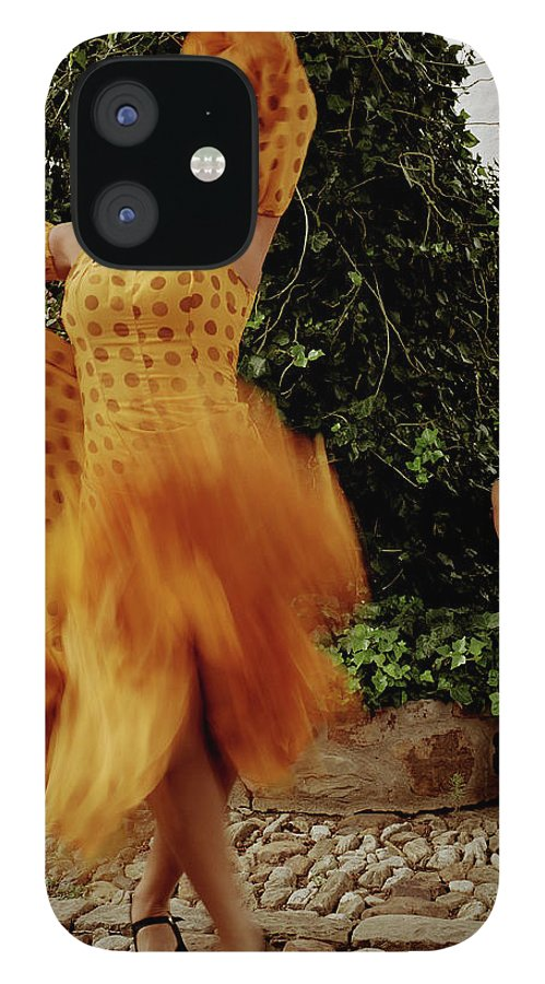 Blurred Motion IPhone 12 Case featuring the photograph Woman Flamenco Dancer, Outdoors by Tim Macpherson