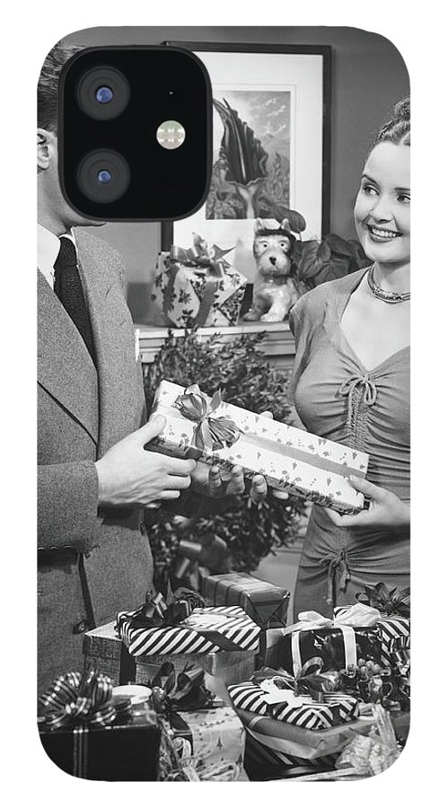 Heterosexual Couple IPhone 12 Case featuring the photograph Woman Giving Gift To Man, B&w by George Marks