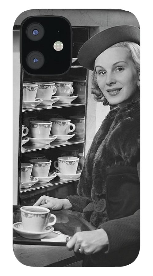 People IPhone 12 Case featuring the photograph Woman Wcoffee On Tray by George Marks