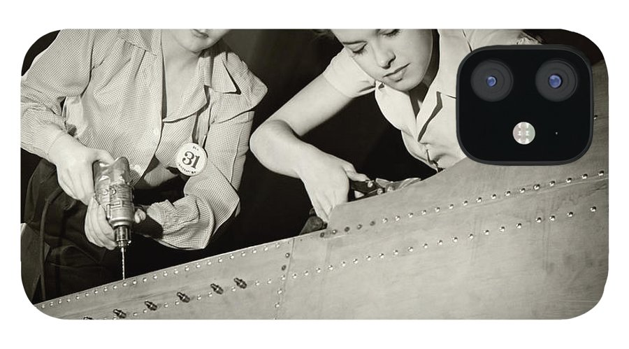 Working IPhone 12 Case featuring the photograph Women Working On Ww II Aircraft Assembly by George Marks