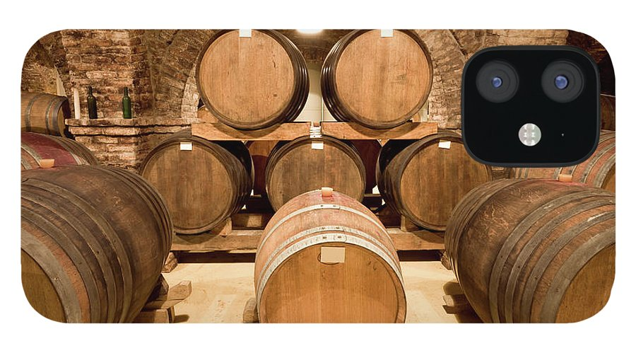 Arch IPhone 12 Case featuring the photograph Wooden Barrels In Wine Cellar by Benedek