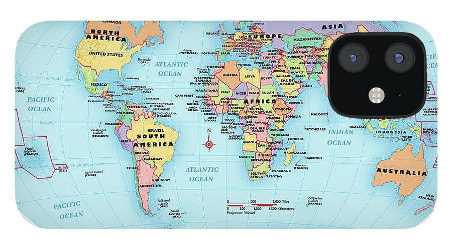 Horizontal iPhone 12 Case featuring the digital art World Map, Continent And Country Labels by Globe Turner, Llc