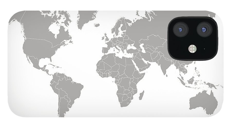 South America IPhone 12 Case featuring the digital art World Map Outline In Gray Color by Chokkicx