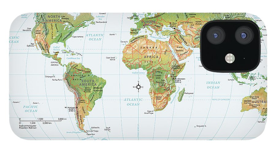 Equator iPhone 12 Case featuring the digital art World Map, Physical by Globe Turner, Llc