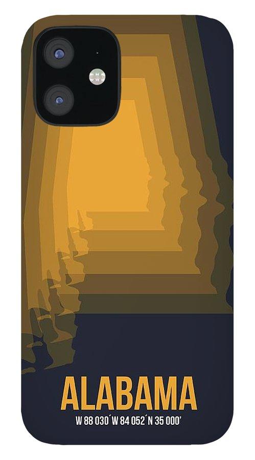 Alabama IPhone 12 Case featuring the digital art Yellow Map of Alabama by Naxart Studio