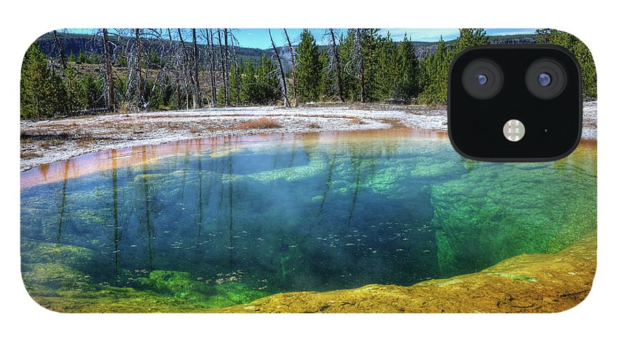 Morning Glory Pool IPhone 12 Case featuring the photograph Yellowstone Hot Spring by Dbushue Photography