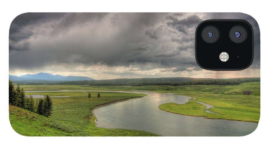 Scenics IPhone 12 Case featuring the photograph Yellowstone River In Hayden Valley by Kevin A Scherer