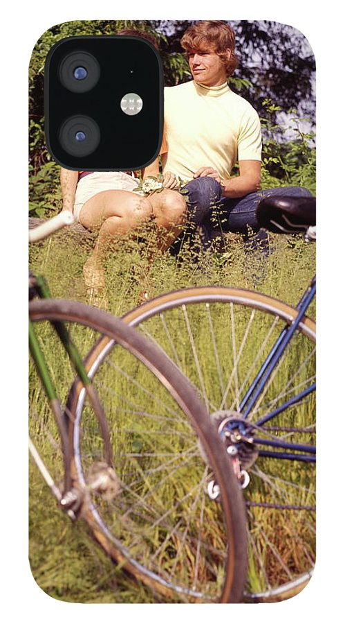 Heterosexual Couple IPhone 12 Case featuring the photograph Young Adults Teenagers Field Date Bikes by H. Armstrong Roberts