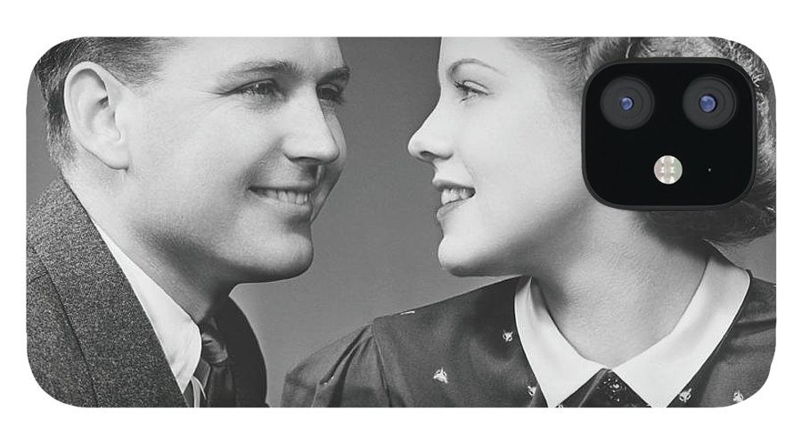 Young Men IPhone 12 Case featuring the photograph Young Couple Looking In Eyes In Studio by George Marks