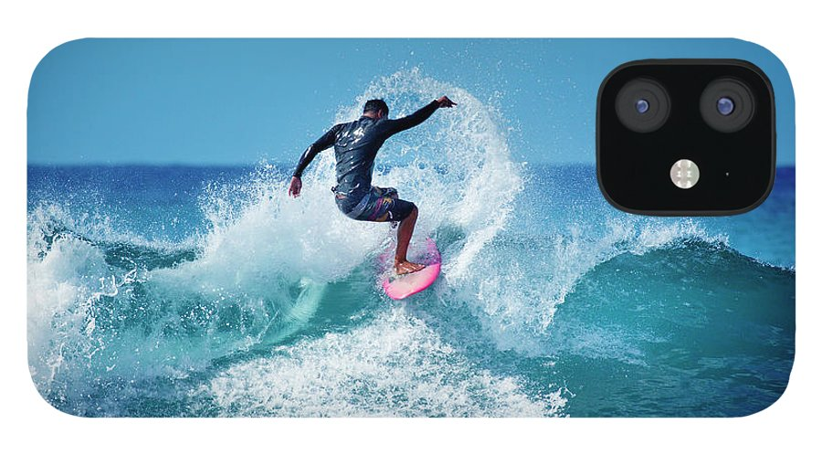 Young Men IPhone 12 Case featuring the photograph Young Male Surfer Surfing In The Water by Yinyang