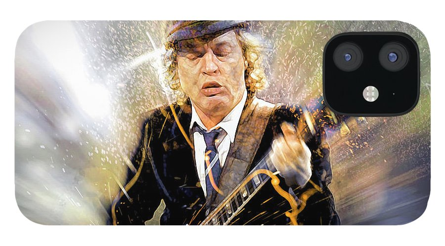Angus Young IPhone 12 Case featuring the digital art You've been thunderstruck by Mal Bray