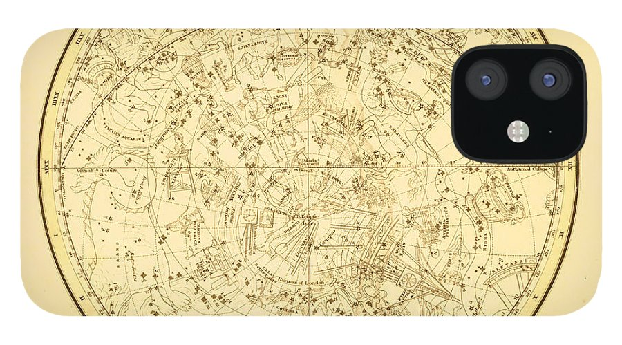 Engraving IPhone 12 Case featuring the digital art Zodiac Map by Nicoolay