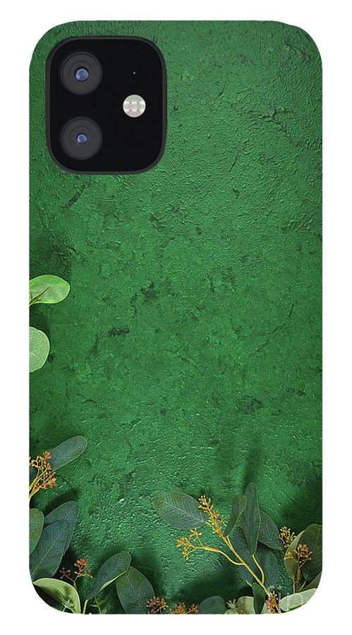 Dark Green IPhone 12 Case featuring the photograph Dark green aesthetic nature theme creative layout flat lay background. by Milleflore Images