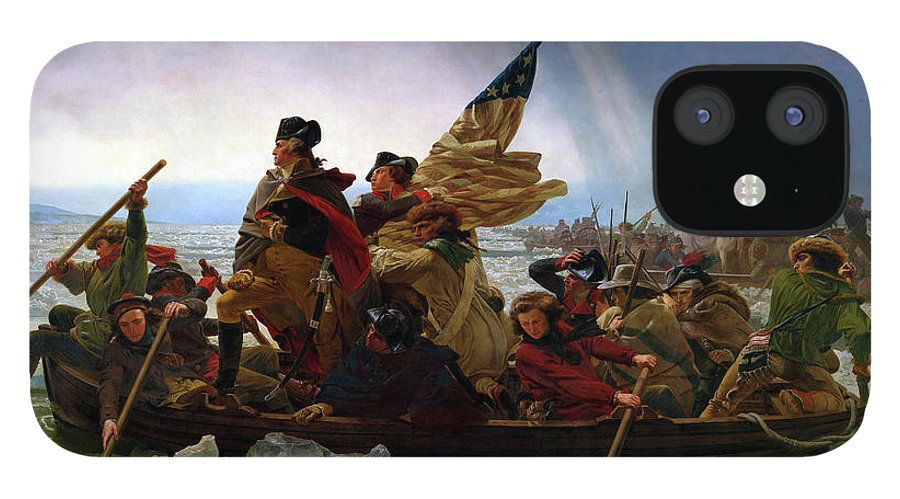 George Washington IPhone 12 Case featuring the painting Washington Crossing the Delaware by Emanuel Leutze