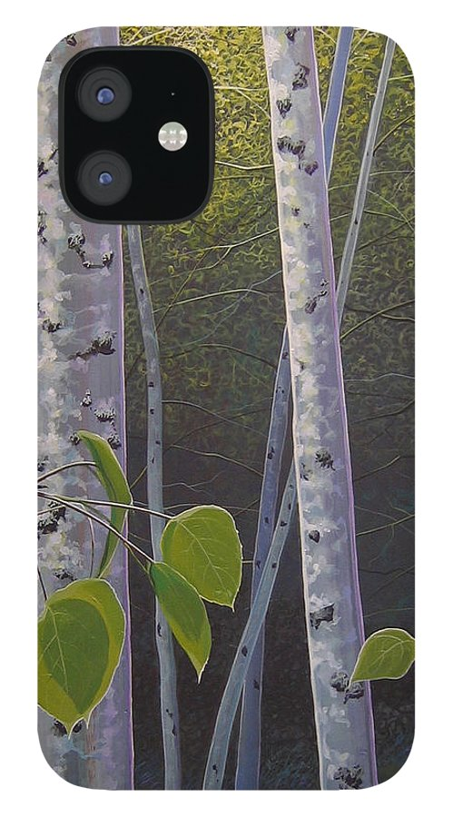 Aspen iPhone 12 Case featuring the painting Light in the Forest by Hunter Jay