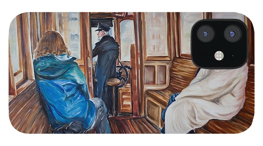 Tram IPhone 12 Case featuring the painting The Tram by Jennifer Lycke