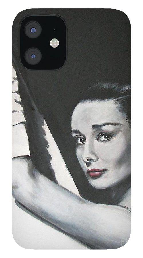 Audrey Hepburn IPhone 12 Case featuring the painting Audrey Hepburn by Eric Dee
