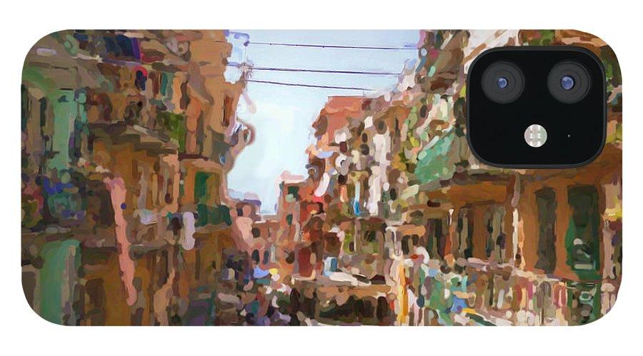 Cinque Terre IPhone 12 Case featuring the mixed media Cinque Terre by Asbjorn Lonvig