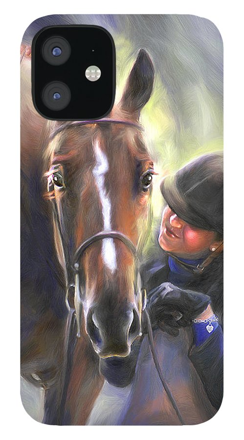 Horse IPhone 12 Case featuring the painting A Secret Shared Hunter Horse With Girl by Connie Moses
