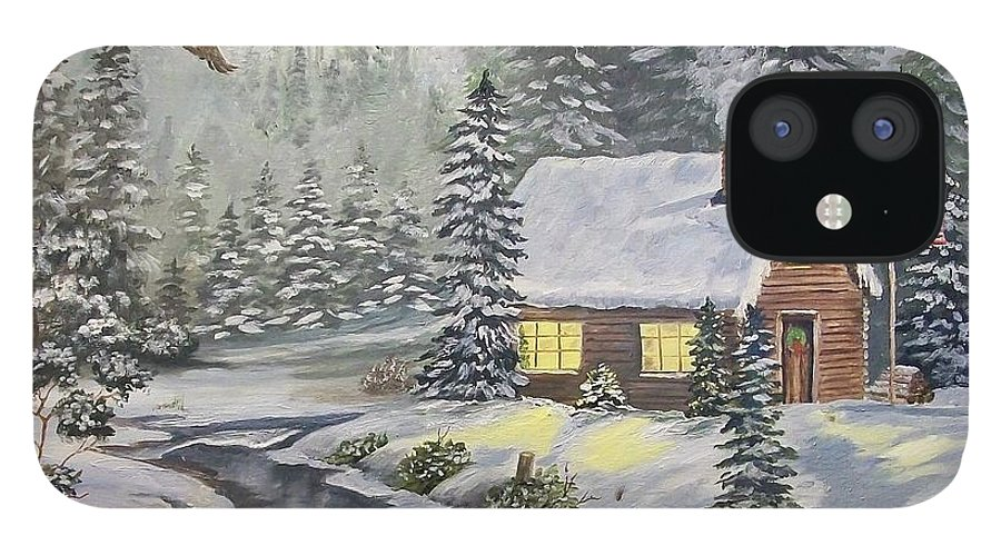 Christmas IPhone 12 Case featuring the painting A Snowey Mountain Christmas by Wanda Dansereau