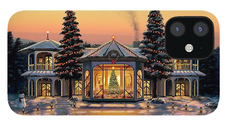 Christmas IPhone 12 Case featuring the painting A Warm Home For The Holidays by Stu Shepherd