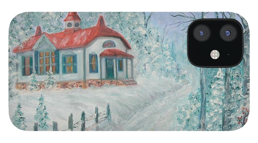 Christmas Scene IPhone 12 Case featuring the painting A Winters Day by Ben Kiger