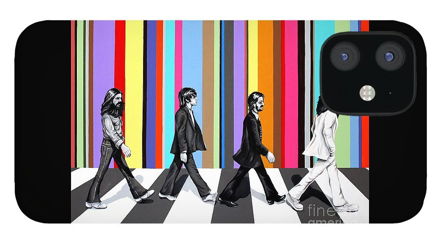 The Beatles IPhone 12 Case featuring the painting Abbey Road Technicolor by Amy Belonio