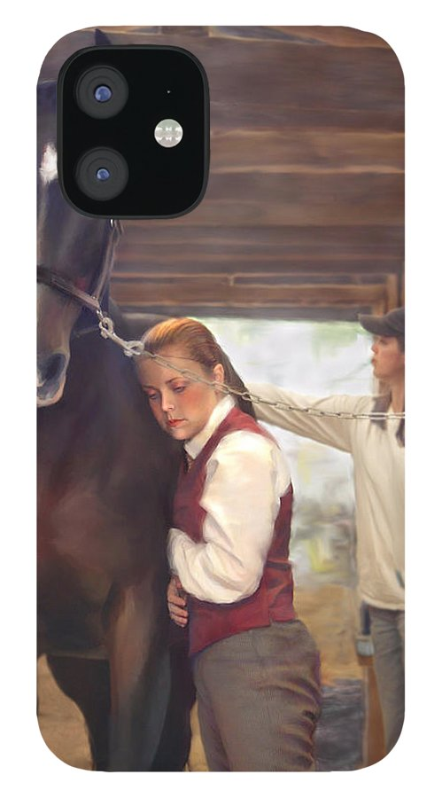 Horse IPhone 12 Case featuring the painting Aisle Hug Horse Show Barn Candid Moment by Connie Moses