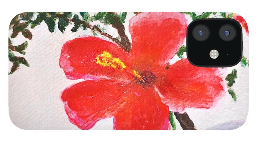 Flower iPhone 12 Case featuring the painting Algarve Flower by Caroline Cunningham