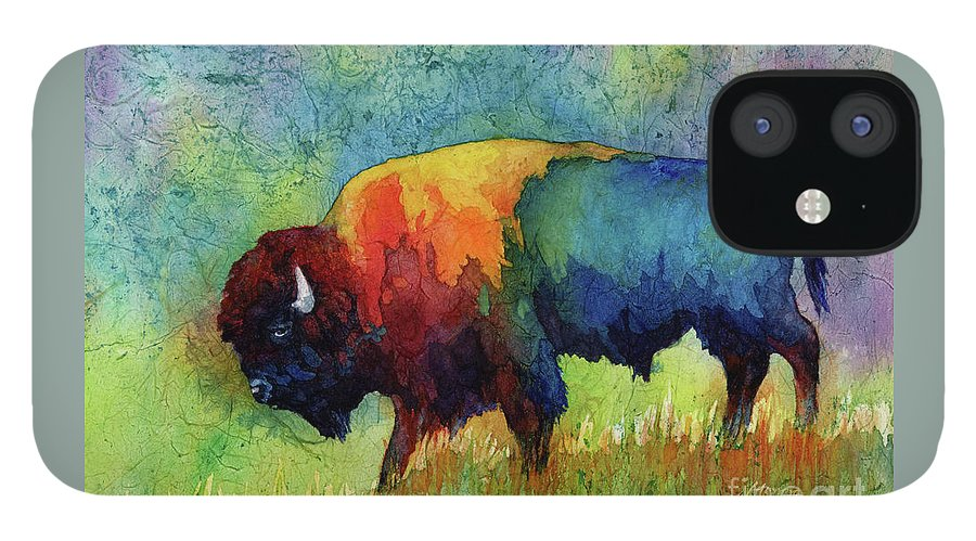 Bison IPhone 12 Case featuring the painting American Buffalo III by Hailey E Herrera