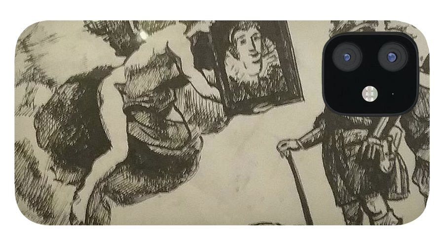Angel iPhone 12 Case featuring the drawing Angel of Aesthetic by Jude Darrien