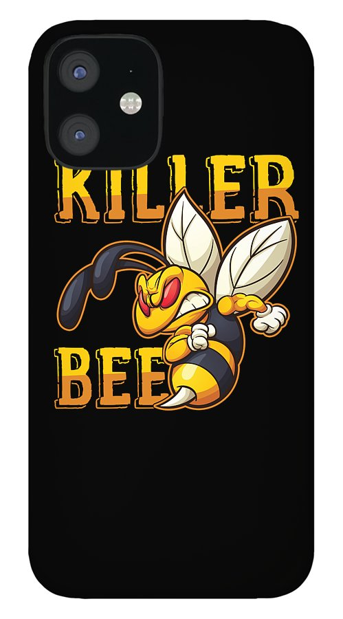 Bee IPhone 12 Case featuring the digital art Angry Bees Beehive Beekeeper Honeycomb Honeybee Gift Killer Bee by Thomas Larch