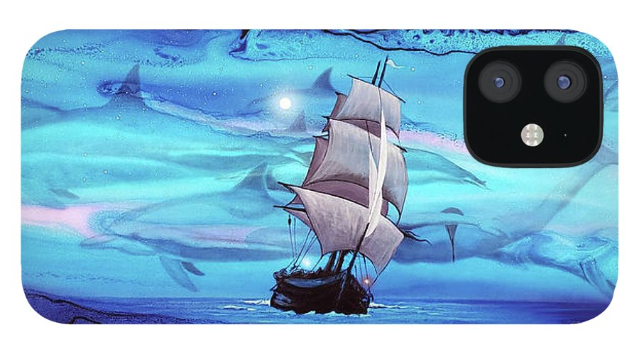 Blue Painting IPhone 12 Case featuring the painting Apnea by Angel Ortiz