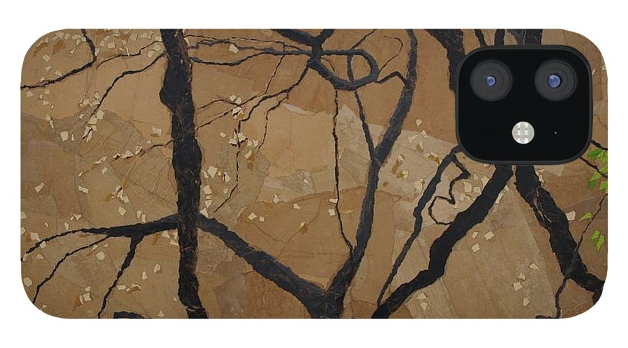 Abstract Tree Branches IPhone 12 Case featuring the painting Arboretum Dancers by Leah Tomaino