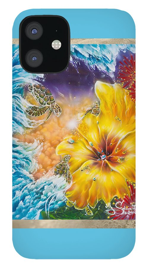 Aloha! Honu Hawaii Art Hibiscus Coral Reefs Flowers Floral Reefs IPhone 12 Case featuring the painting Wave of the Honu by Joel Salinas III