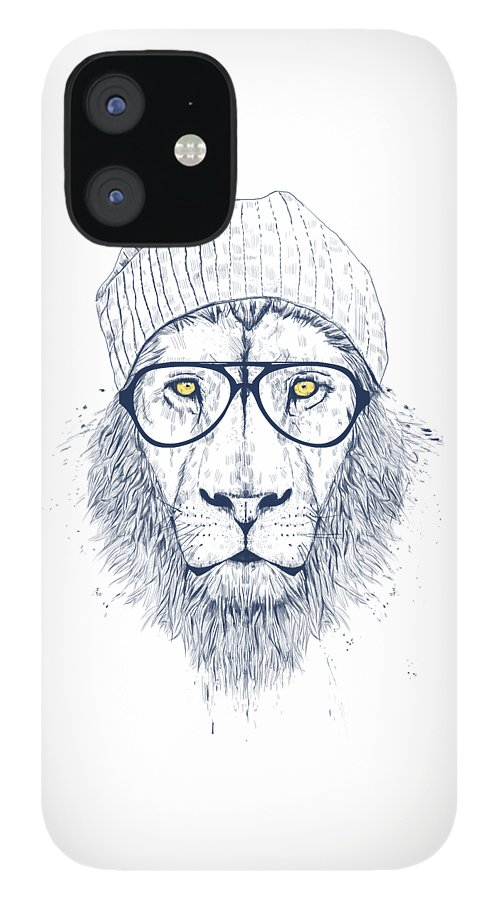 Lion IPhone 12 Case featuring the drawing Cool lion by Balazs Solti