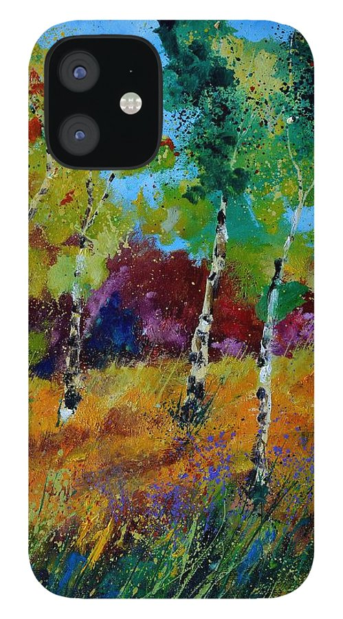 Landscape IPhone 12 Case featuring the painting Aspen trees in autumn by Pol Ledent