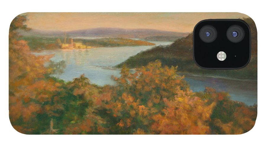 Landscape IPhone 12 Case featuring the painting Autumn Hudson Highlands by Phyllis Tarlow