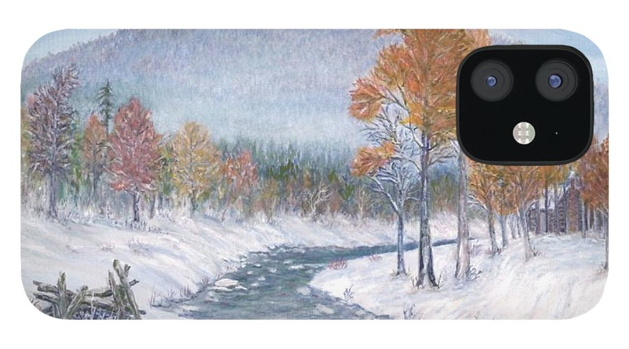 Snow IPhone 12 Case featuring the painting Autumn Snow by Ben Kiger