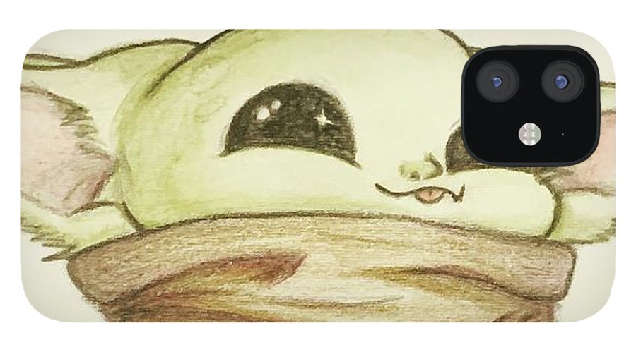Baby IPhone 12 Case featuring the drawing Baby Yoda by Tejay Nichols