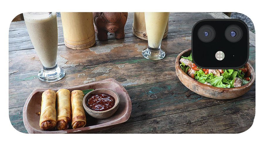 Indonesia IPhone 12 Case featuring the digital art Balinese dinner by Worldvibes1