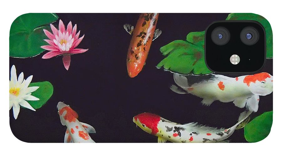 Koi IPhone 12 Case featuring the painting Barbie's Koi pond by Philip Fleischer