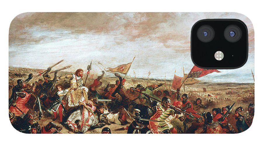 Poitiers IPhone 12 Case featuring the painting Battle of Poitiers on September 19, 1356 by Ferdinand Victor Eugene Delacroix